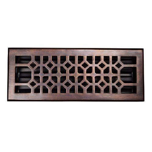 The Copper Factory CF141AN Solid Cast Copper Decorative 4-Inch by 12-Inch Floor Register with Damper, Antique Copper