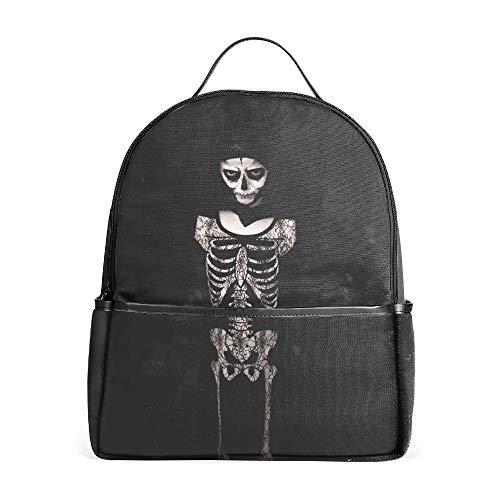 Backpacks Female Knapsack Daypack Lightweight College Bags School Bookbag Casual Fashion Halloween Costume Skeleton Bw]()