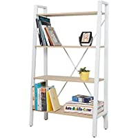 Livebest 4-Tier Industrial sturdy Bookcase, Wood Open Bookshelf Metal Bookcases Furniture for Collection,White