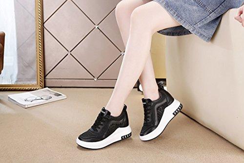Correr Talón Cuñas Zapatos Deportes para para Hollow Mujer Zapatos Talón Oculto Casuales Negro Transpirable DANDANJIE Zapatillas x4Iv66