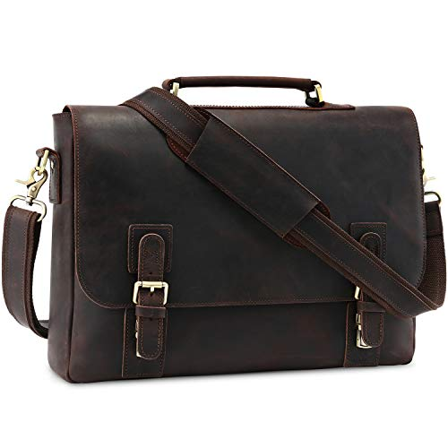 - Kattee Men's Leather Satchel Briefcase, 15.6