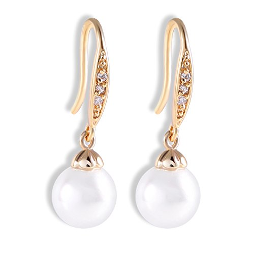 Yves Renaud Austrian Crystal Fish Hook Dangle Earrings with White Pearl Charm - Fashion Jewelry for Women (Austrian Crystal Fish)
