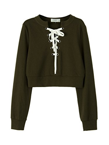 Military Style Cropped (Clothink Women Army Green Lace Up Front Cropped Sweatshirt Tops S)