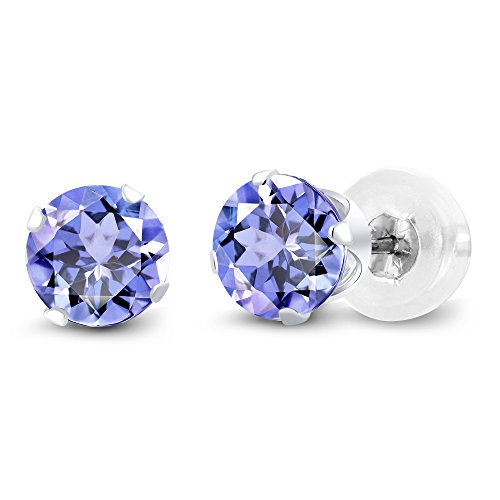 - 14K White Gold Tanzanite Stud Earrings, 1.00 Ctw Gemstone Birthstone 5MM Round