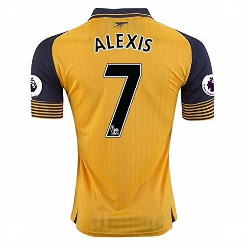 2016 2017 Arsenal 7 Alexis Sanchez Away Football Soccer Jersey In Yellow For New Season