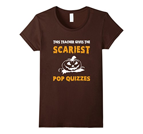 Womens Teacher Scariest Quizzes Halloween T-shirt Jack O Lantern Ts Medium Brown - Halloween Costumes Quizzes