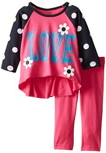 Gerber Graduates Baby Girls' Love Sportie Long Sleeve Top and Pink Legging Set, Love, 12 Months