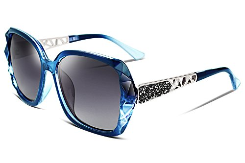FEISEDY Classic Polarized Women Sunglasses Sparkling Composite Frame (Crystal Blue Sunglasses)