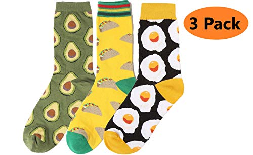 Funny Socks For Men and Women Novelty Socks 3 Pairs - Tacos, Avocado, Eggs - Cool gift sock set