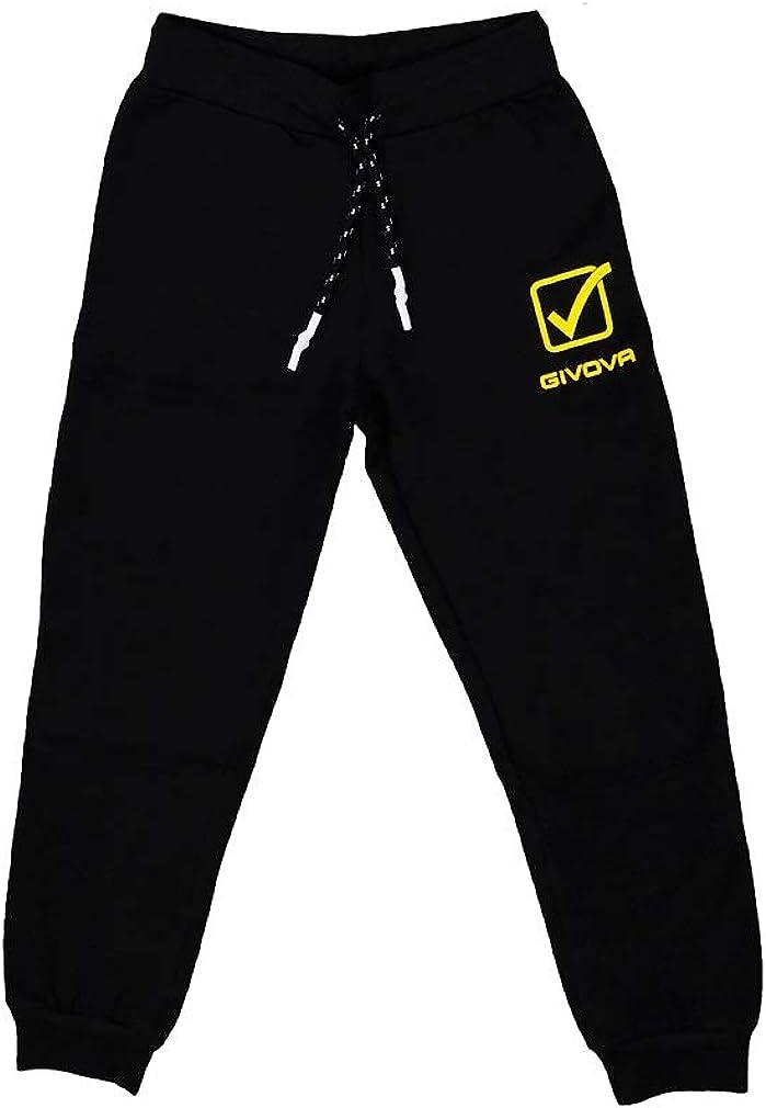 Disponibile nella Variante Nero e Blu givova con Felpa a Manica Lunga e Stampa Posteriore Tuta Sportiva per Bambino Ragazzo in Cotone Chiusura Zip Pantalone con Chiusura a Lacci