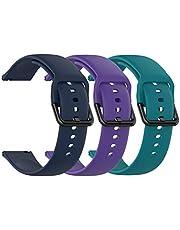 TenCloud (3-pack) riemen compatibel met Garmin Venu/Venu Sq riem, 20 MM Band Vervanging Zachte Siliconen Sport Polsband voor Vivoactive 3 Muziek/Vivoactive 3/Forerunner 645/245 Smartwatch