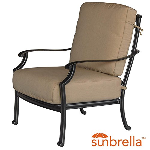Lakeview Outdoor Designs Bocage Cast Aluminum Patio Club Chair W/Sunbrella Heather Beige Cushions