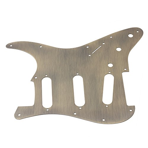 LYWS Aluminium alloy Electric Guitar Pickguard Stratocaster ST SSS 11Hole full Size (Bronze)