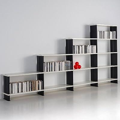 Scaffali Bianchi Componibili.Libreria Modulare Nikka Componibile A Scalino Mensole