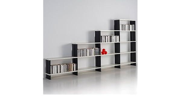 Nikka Estantería Escalera de Pared Modular salón, estantes blanco Made in Italy cm. 360 x 176 h x 30: Amazon.es: Hogar
