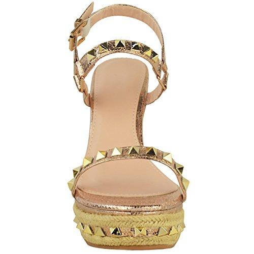 semelle été Sandales doré clous métallisé rose compensée froissé Effet femme brides détails plateformes à qSw0tgS4