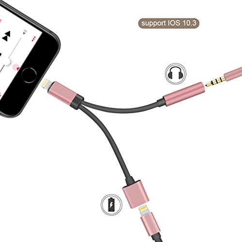 GPDSTAR iPhone Adapter,2 in 1 Lightning Charger and Adapter Cable with 3.5mm Aux Headphone Audio Jack for iPhone X / iPhone 8 /iPhone 7 (Rose-Gold)