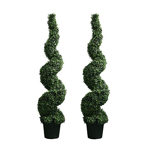 MOMO PLANT 59 Inch Artificial Boxwood Topiary Tree Spiral Plants Fake Faux Plant Decor in Plastic Pot Green Indoor or Outdoor, Set of 2