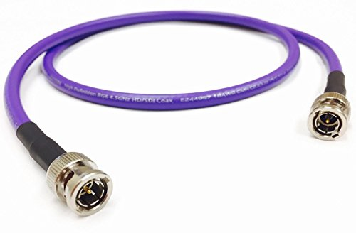 - 1 Foot HD-SDI 3G RG6 BNC to BNC Video Coaxial Cable (75 Ohm) Purple 4.5Ghz Made in The USA by Custom Cable Connection