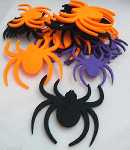 Hobby Lobby Halloween Crafts Stickers - Orange, Black and Purple Felt Spiders