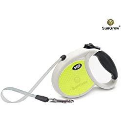 Kid's Dog Leash -- Safe to walk at night with Neon reflective tape - Retractable, comfortable grip - For Pug, Miniature Schnauzer, Shih Tzu, Boston Terrier - Vital for keeping dogs of 22 lbs. fit