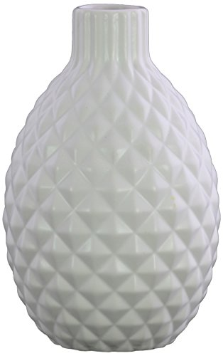 - Urban Trends Stoneware Bellied Round Wave Lips, Engraved Diamond Design Body and Tapered Bottom Matte Finish White Vase