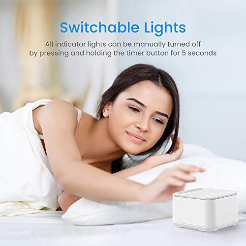 White Noise Machine, Sleep Sound 40 Non-Looping and High 30 Levels and Timer with Switchable Memory