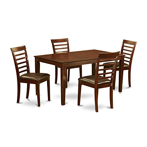 East West Furniture CAML5-MAH-LC 5-Piece Dining Table Set