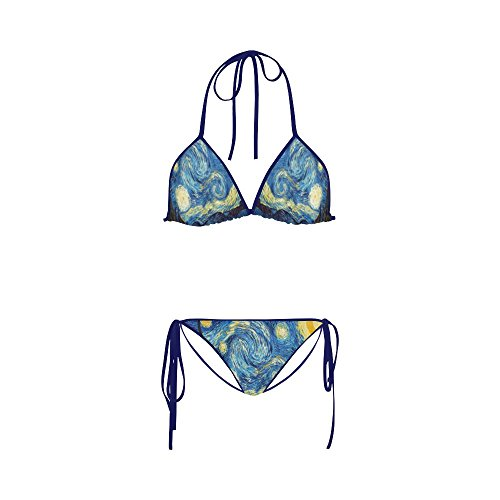 Abbie Miller Abstract Painting Nylon and Spandex Bikini Swimsuit for Women,M