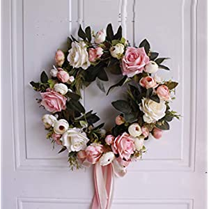 YJBear European Artificial Flower Spring Door Wreath Garland Handcrafted Rose Silk Flower Twig Front Door Wreath Display for Home Decoration Wedding Farmhouse Decor Vintage Christmas Wreath,13.7-Inch 66