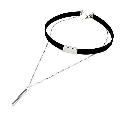 Suede Chocker Chain Necklace with Pendant by MayaBracelets (Black -