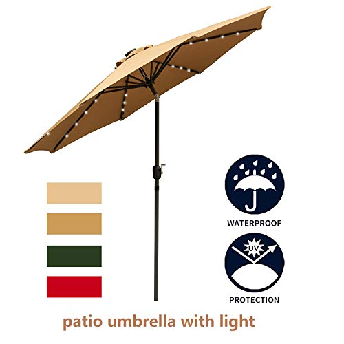 Leisurelife 9' Patio Umbrella with Lights Outdoor - Brown Patio Table Umbrellas,8 Sturdy Ribs,Solar Power