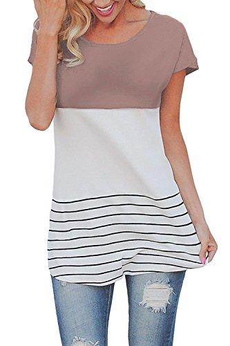ChongXiao Women's Back Lace Tops Color Block Short Sleeve T-shirt Tunics Blouse (M, (Colorblock Tunic Top)