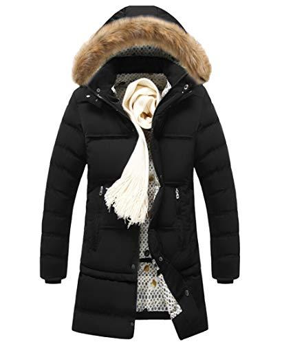Fur Thickened Black TTYLLMAO Jackets Fax Coats Men's Warm Winter Hooded zw7XERx7