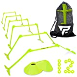 Pro Adjustable Hurdles and Cone Set – 6 Agility Hurdles (6'', 9'' or 12'' Height) with 12 Disc Cones for Soccer, Sports, Plyometric Speed Training – Includes Carry Bag & 2 Agility Drills eBooks (Yellow)