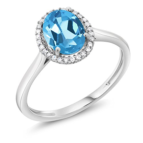 10K White Gold Diamond Halo Engagement Ring set with 1.40 Ct Oval Swiss Blue Topaz (Available in size 5, 6, 7, 8, 9)