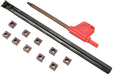 Qualitäts-CNC-Drehmaschine Werkzeug-Zubehör Lathe Bohrstange Drehwerkzeughalter mit 10 Stück CCMT0602 Insert 7x125mm S07K-SCLCR06