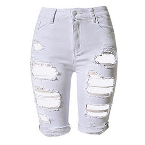 Youthny Femme Pantalon Trou Taille Haute Courte Et Blanc