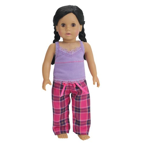 , 2 Pc. PJ's Set Fits 18 Inch American Girl Dolls & More, Purple Tank Top, Pink & Purple Plaid PJ Pants ()