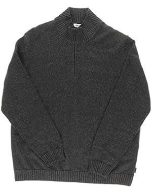 Calvin Klein Quarter-Zip Sweater - Large - Black Melange