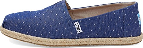 (TOMS Women's Classic Chambray Rope Sole Imperial Blue Dot Ankle-High Canvas Slip-On Shoes -)
