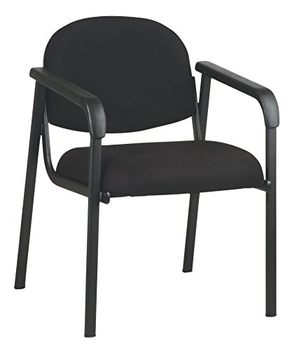 Office Star Padded Molded Foam Seat and Back Visitors Chair with Designer Plastic Shell Back, Black by Office Star