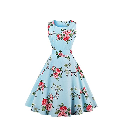 Wellwits Women's Floral Birds Decor Belt Vintage Swing Tea Party Dress Blue 3XL