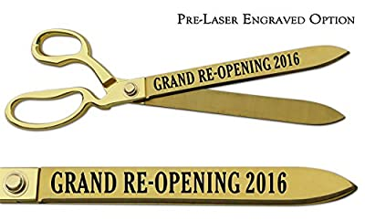 """Pre-Laser Engraved """"GRAND RE-OPENING 2016"""" 15"""" Gold Plated Ceremonial Ribbon Cutting Scissors"""