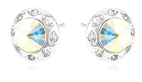 Round Silver Tone Stud Earrings Featuring Brilliant Swarovski Crystals (Available in 3 Colors)
