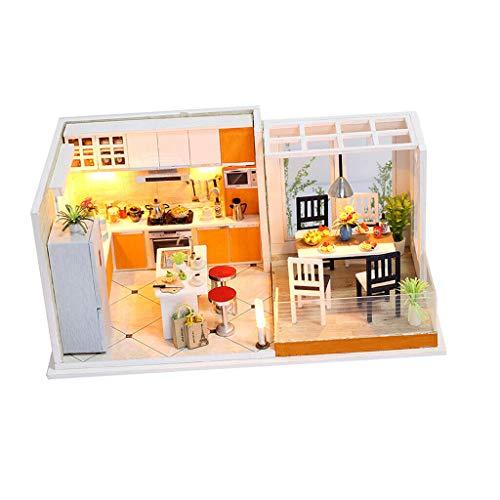 NATFUR DIY Dolls House Miniature Handcraft Kit Assembled Toy Dollhouse Villa Gift -