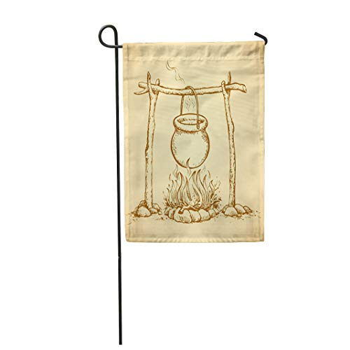 Semtomn Garden Flag 12x18 Inches Print On Two Side Polyester Hanging on Log Cast Iron Pan Hot Embers Fading Campsite Stew Boiling Potatoes Home Yard Farm Fade Resistant Outdoor House Decor Flag