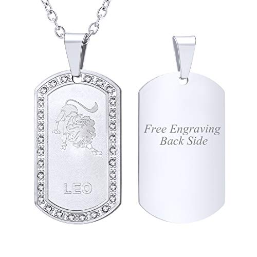 (U7 Customized Necklace Men Birthday Gift Stainless Steel Rhinestone Inlaid Constellation Zodiac Sign Dog Tags Pendant, Back Side Engravable Personalized Jewelry (Leo))