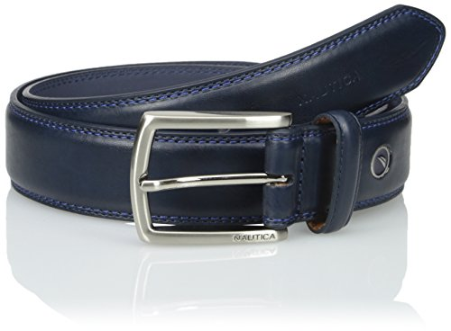 Nautica Men's Feathered Edge with Double-Stitch Casual Leather Belt Navy 34 (Stitch Leather Dress Belt)
