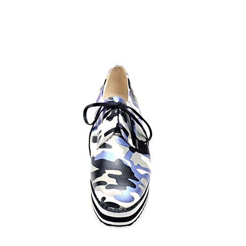 Carolbar Womens Fashion Lace Up Camouflage Stampa Comfort Cuneo Scarpe Oxford Tacco Medio Blu